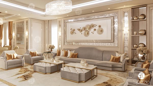 New decorative living space with sofas, armchairs and antique mirror as a wall decor