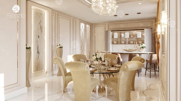 Beautiful dining room in pastel colors with gold decor