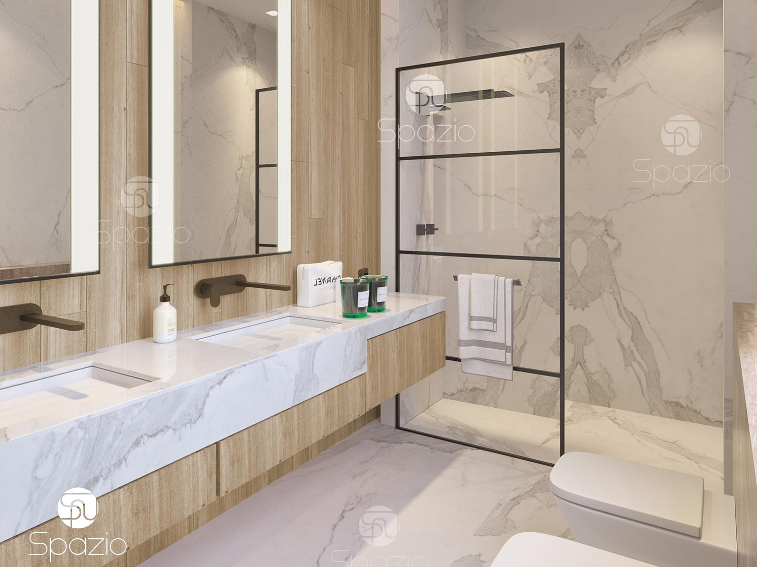 Wooden finish bathroom with beautiful carrara marble
