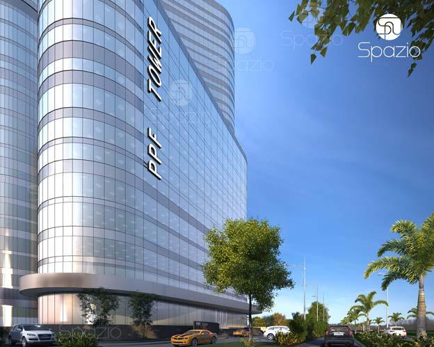 exterior design with glass facade