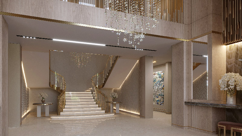Luxury entrance hall with a large staircase