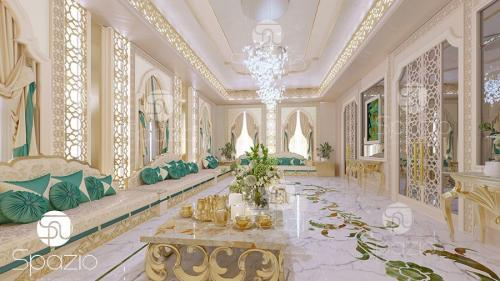 Middle East traditional sitting room style of modern rich family house.