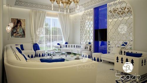 An Arab style living and sitting zone in white color with blue decor.