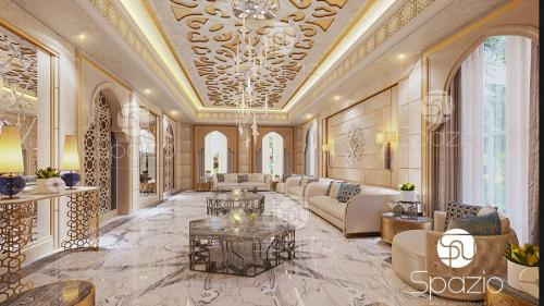 Magnificence arab interior of a sitting in yellow and gold colors.
