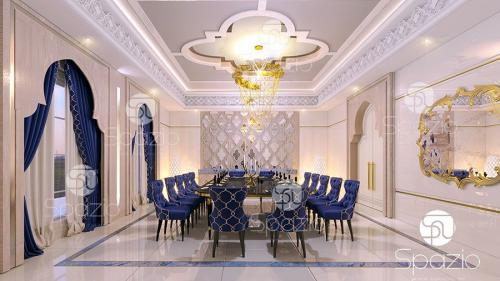 Luxury modern interior styling for a dining room in arab villa in UAE.