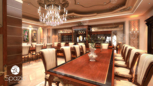 Classical style interior design for a large dining room