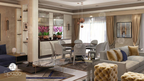 Dining and living room interior design and decor