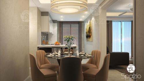 Interior design for 6 seats dining room in Dubai apartment