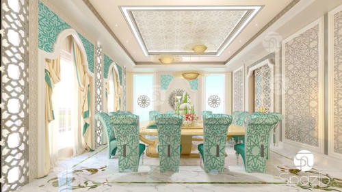 Interior design for guest dining room in a Dubai house