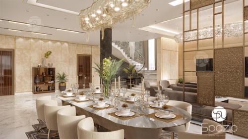 Luxury dining room Interior design in a villa in Dubai
