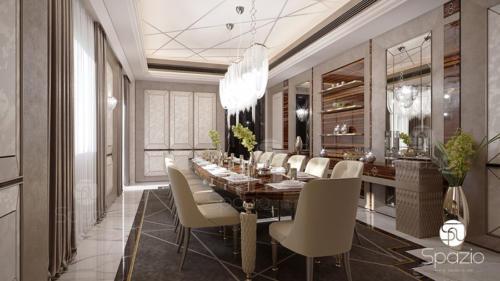 Luxury modern formal dining room interiro design in Dubai
