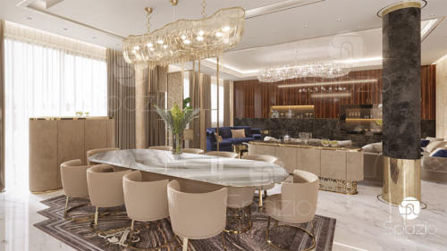 Modern interior Design for a large dining room in a big house