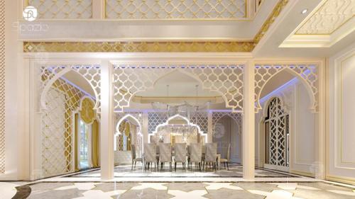 Moroccan style interior design of dining room for a luxury villa in Dubai