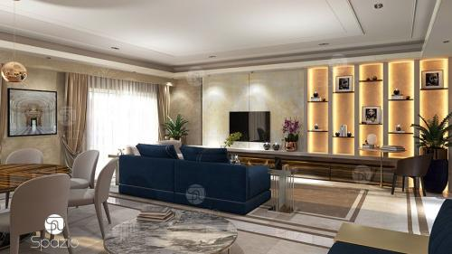Design of the apartment in a modern luxurious style.