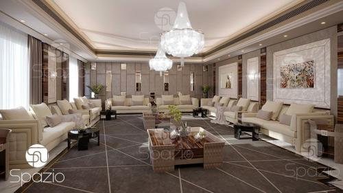 Interior design of the living room in the grey color