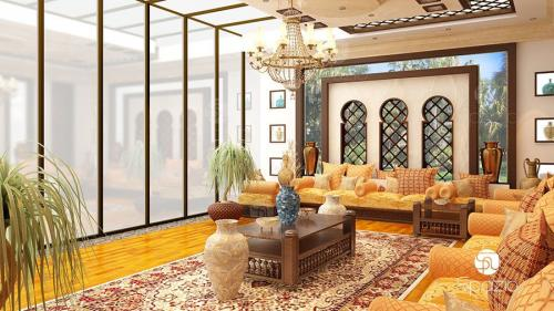 Majlis interior design created by Spazio creative team. The basic principles of the Arab style was preserved.