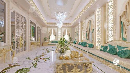 luxury majlis decorated in arabic style in United Arab Emirates