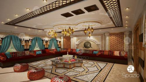 traditional guest seating designs in Abu Dhabi luxury villa